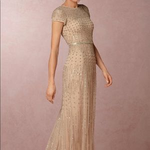 BHLDN Seashell Pink Gown With Beading